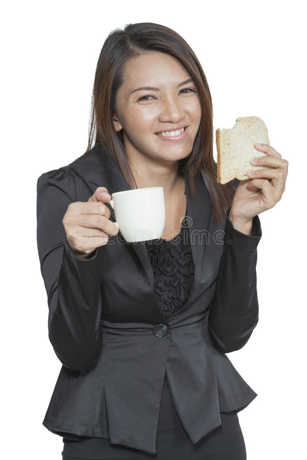 Business woman young pretty drinking coffee and breakfast Friend stock photo