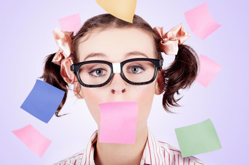 Download Business Womans Face Covered In Paper Reminders Stock Photo - Image: 27770204