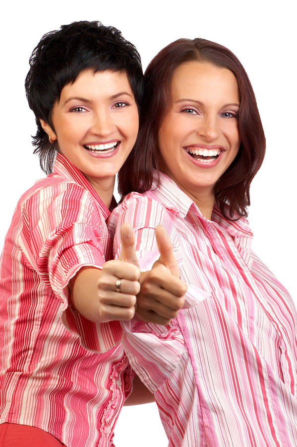 Business women. Happy successful business women. Isolated over white stock image