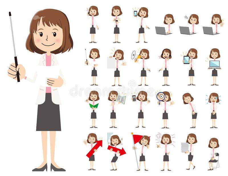 Business women charactor set. Presenting in various action. It is a character set of a business women. There are gestures and poses mainly explained. It`s art stock illustration