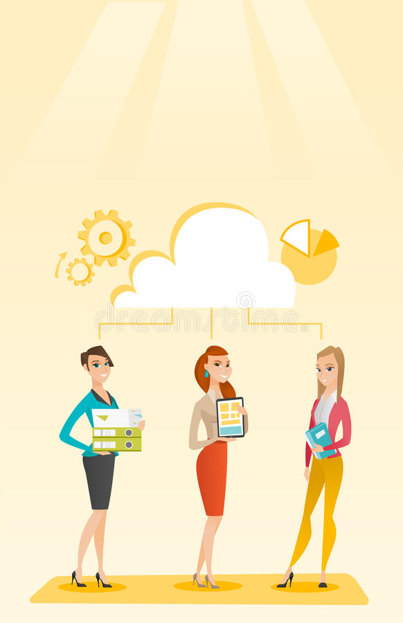 Business women and cloud computing technologies. royalty free illustration