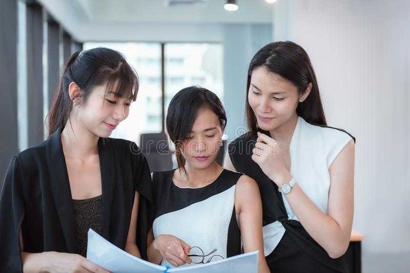 Business Women Entrepreneurs Teamwork are Woking in Office Workplace, Business Financial Entrepreneurship Teams in Modern Office stock image