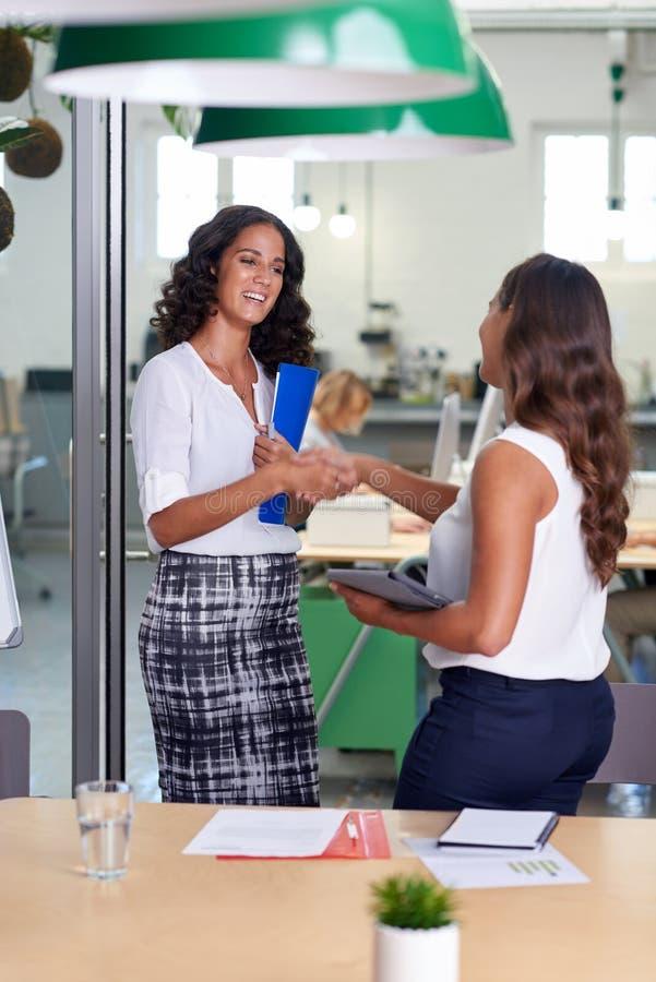 Business women handshake royalty free stock photo