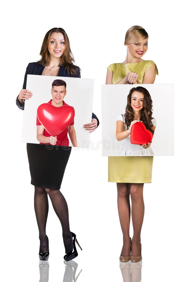 Business women hold portrait royalty free stock images