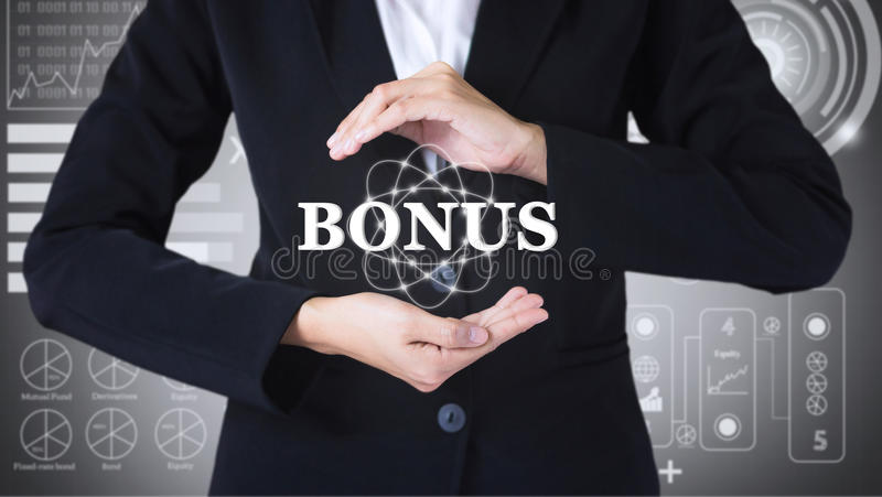 Business women holding posts in bonus. royalty free stock image