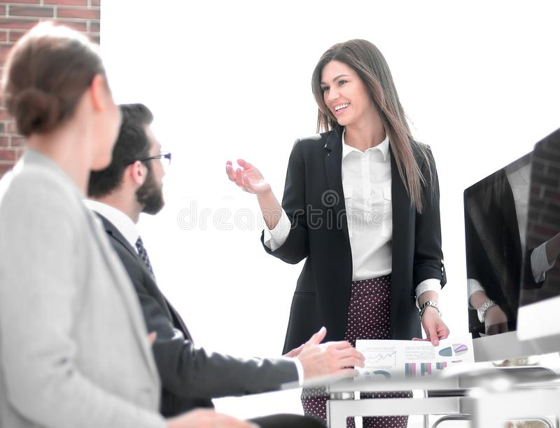 Business woman holds a working meeting in the office royalty free stock images