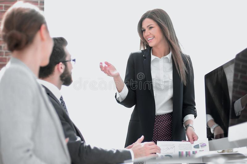 Business woman holds a working meeting in the office. Business women holds a working meeting in the office . business concept royalty free stock image