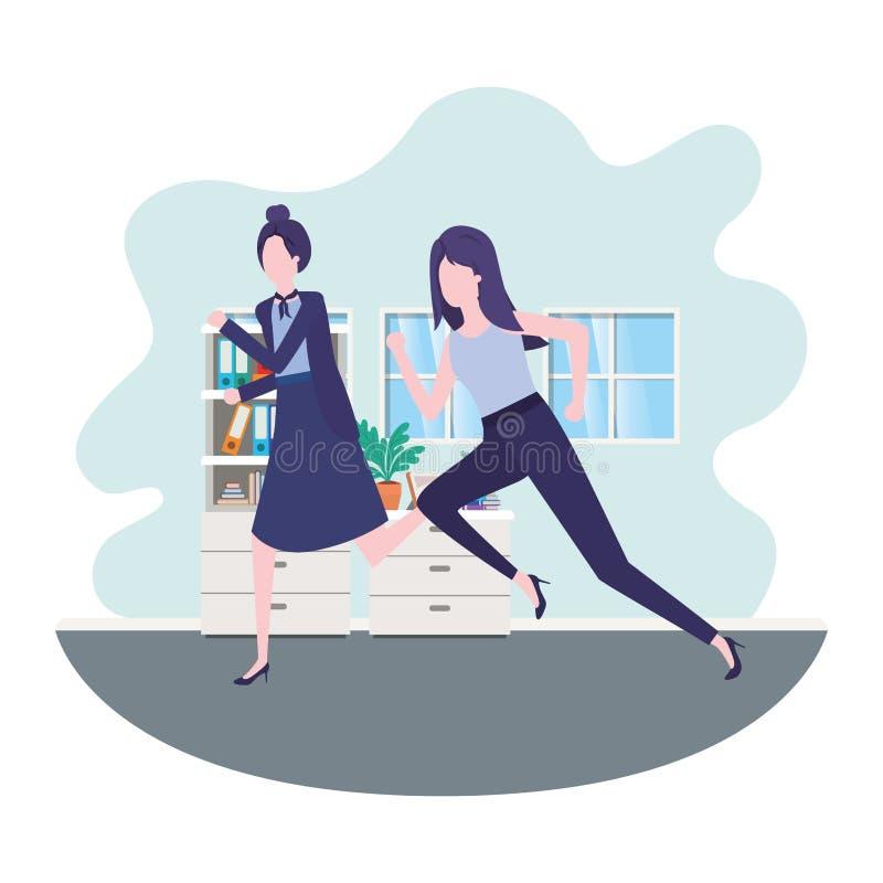 Business women in living room avatar character. Vector illustration desing stock illustration