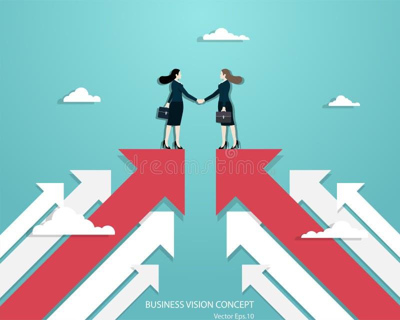 Business women partners handshaking over business. Business vision, Business women partners handshaking over business. Woman standing on red arrow up go to vector illustration