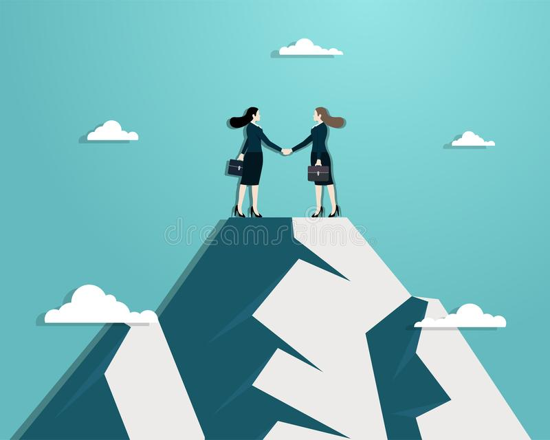 Business women partners handshaking over business. Business vision, Business women partners handshaking over business. Woman standing on top mountain. Success royalty free illustration