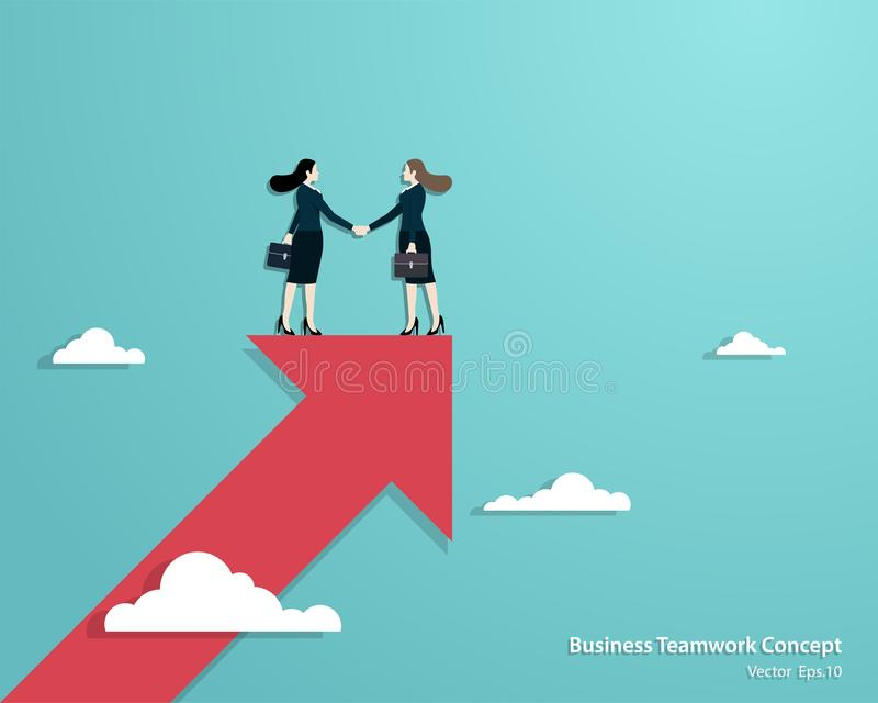 Business women partners handshaking over business. Business vision, Business women partners handshaking over business. Woman standing on top red arrow. Success stock illustration