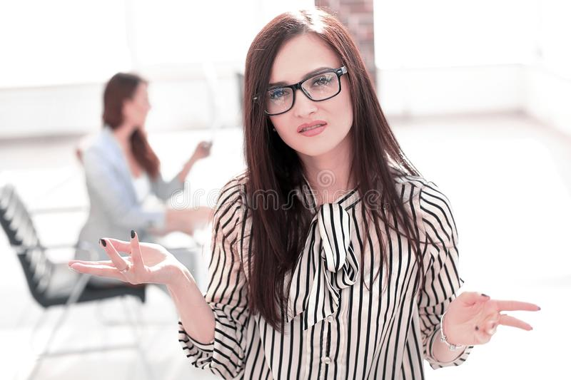 Business women pointing at the copy space stock images