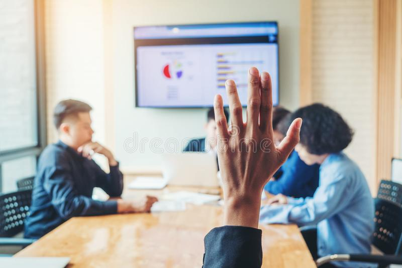 Business women raised hand business seminar , business meeting concept stock images