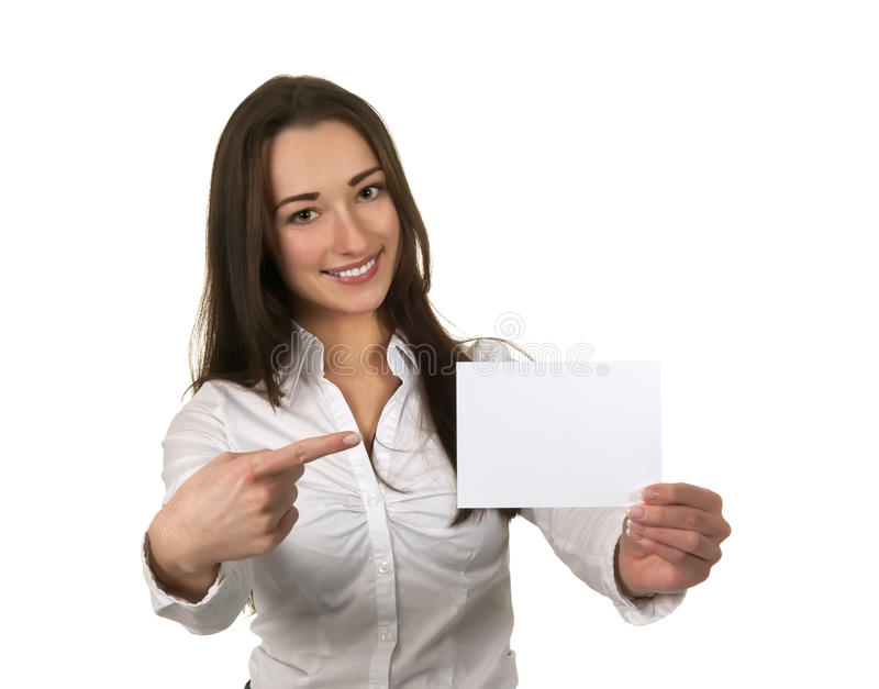 Business women showing her visiting card stock images