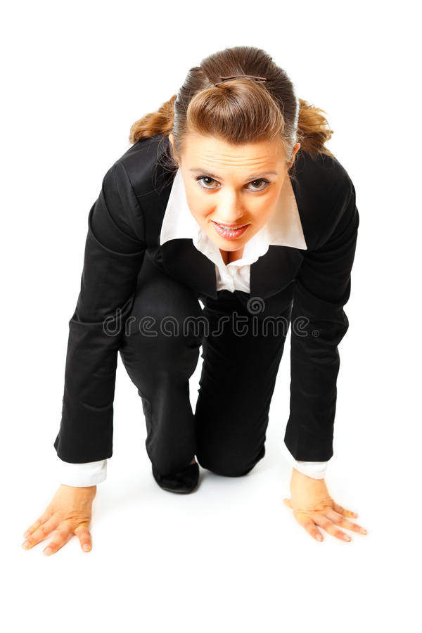 Business women in start position ready for race royalty free stock image