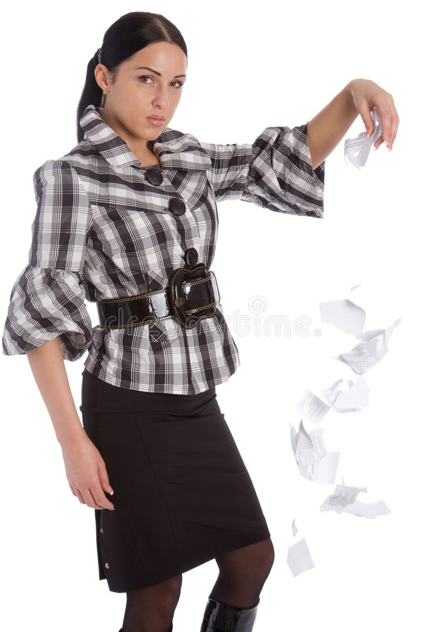Business women tearing document and drop it stock images