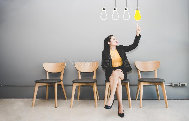 Business women Touching Innovation. Business woman Touching Innovation With Human Head on Visual Screen royalty free stock photography