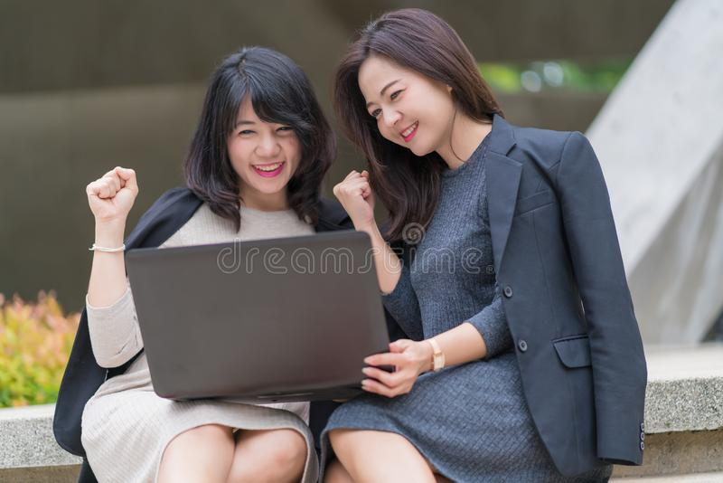 Business woman working together with laptop at office building royalty free stock images