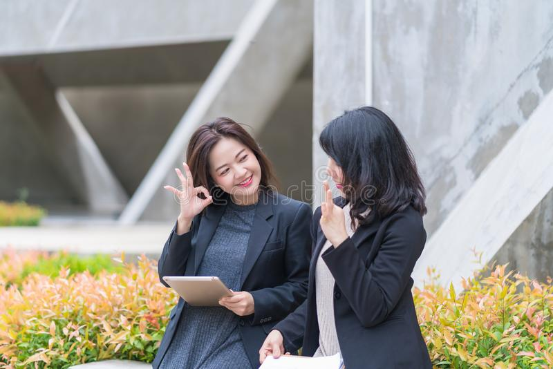Business woman working together with tablet at office building royalty free stock images