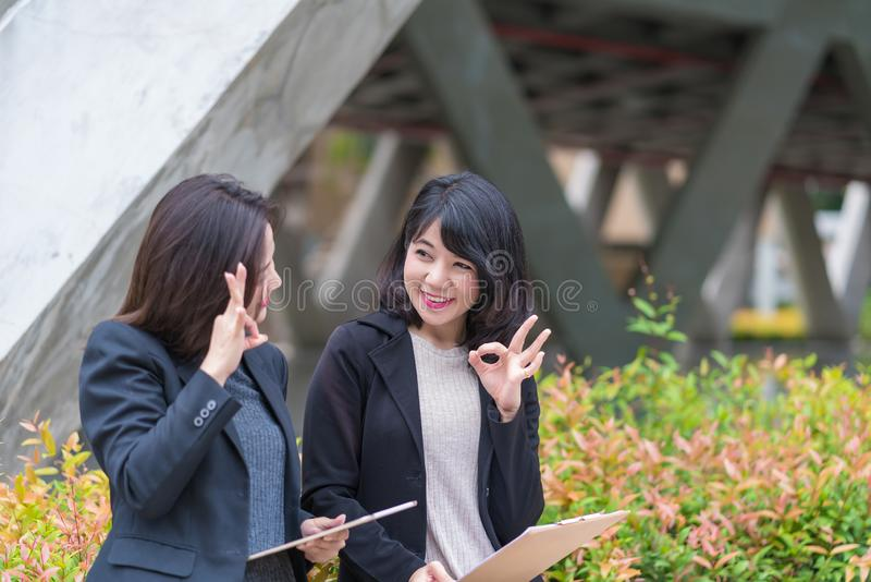 Business woman working together with tablet at office building royalty free stock photo