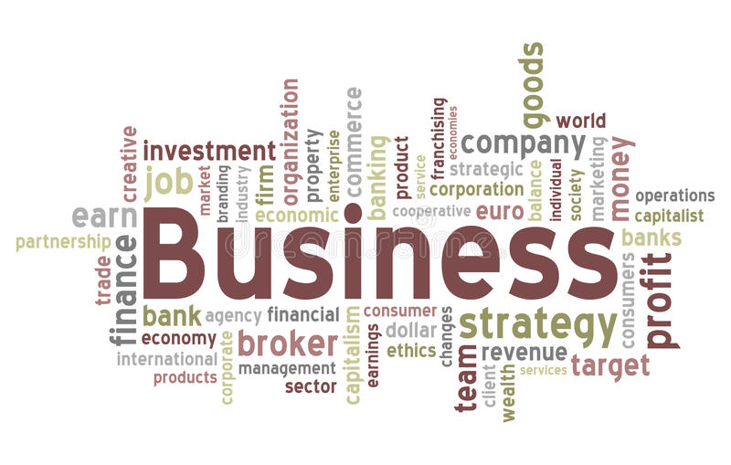 Business Word Cloud. Concept illustration, isolated on white background. Eps file available