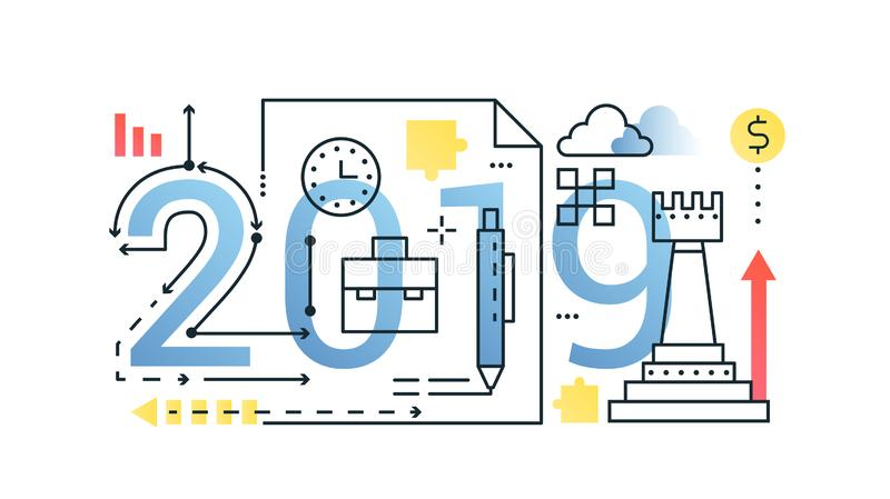 Business 2019 word trendy composition concept banner. Outline stroke finance, money, strategy, planning. Flat line icons. Lettering typography stock illustration
