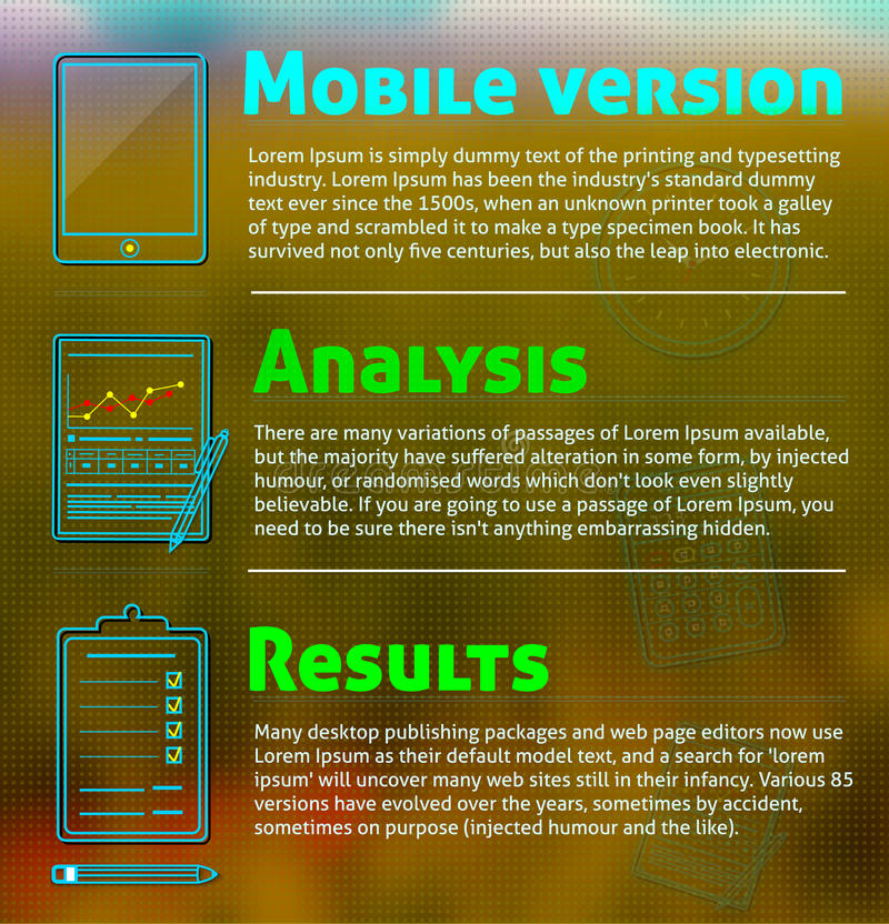 Business work elements. Set of office and business work elements neon icons witx text on blur backround. Mobile version, analysis and results concept royalty free illustration