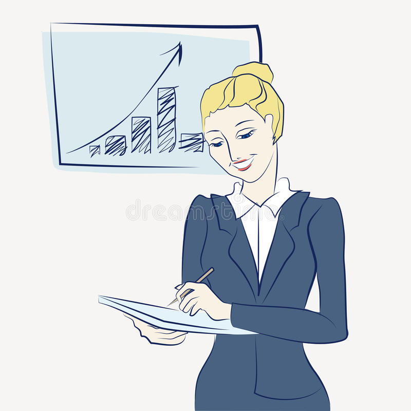 Business worker woman rejoices stock photos