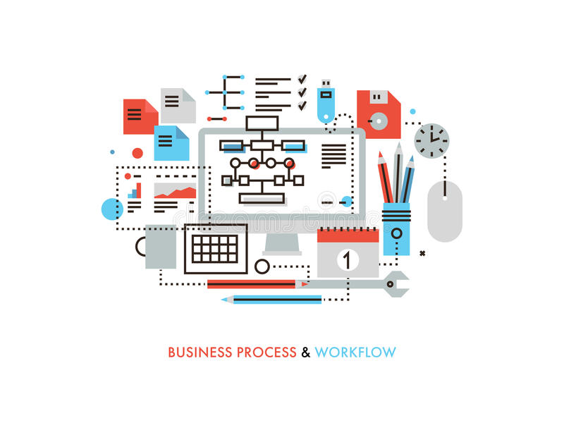 Business workflow flat line illustration vector illustration