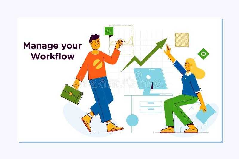 Business workflow management.Company, teamwork, collaboration. Modern flat vector illustration concept. Business workflow management.Project management, business stock illustration