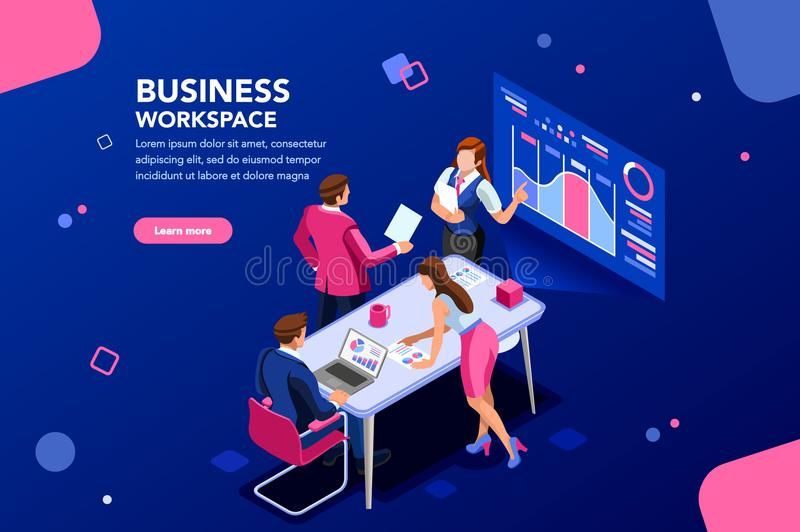 Business workflow Flat Isometric Infographic vector illustration
