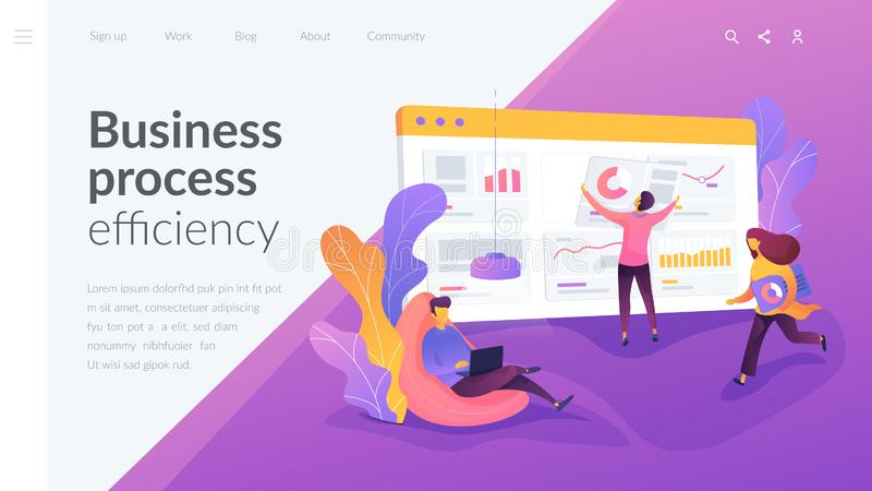Workflow landing page template. Business workflow, business process efficiency, working activity pattern concept. Website interface UI template. Landing web stock illustration