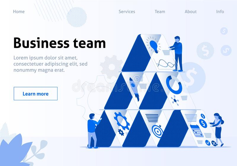 Business Workflow and Team Interaction Flat Banner vector illustration