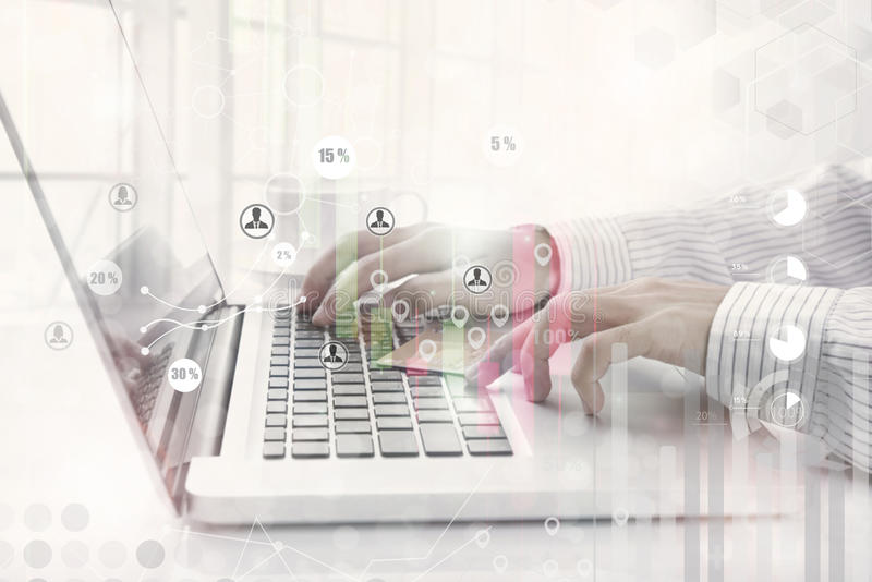 Business working on computer with concept research data economy. Statistic stock image