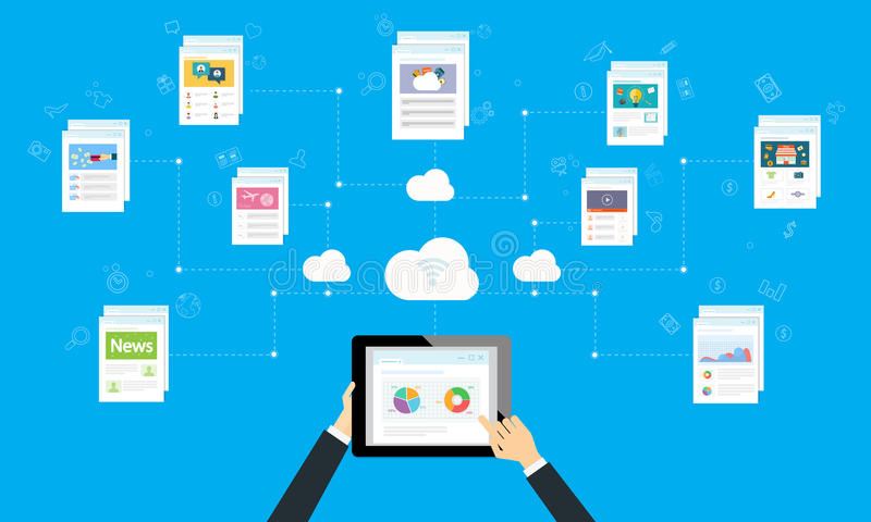 Business working online and internet network on cloud stock illustration