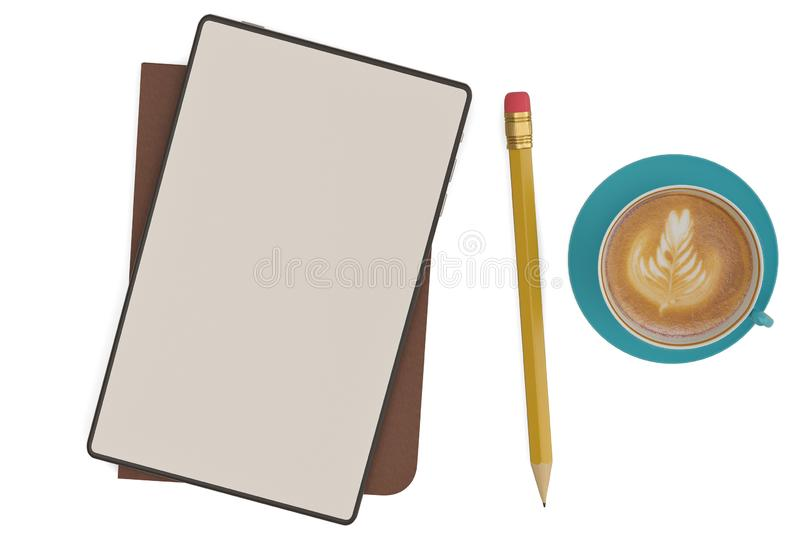 Business workplace concept tablet PC with coffee isolated on white background. 3D illustration.  stock illustration