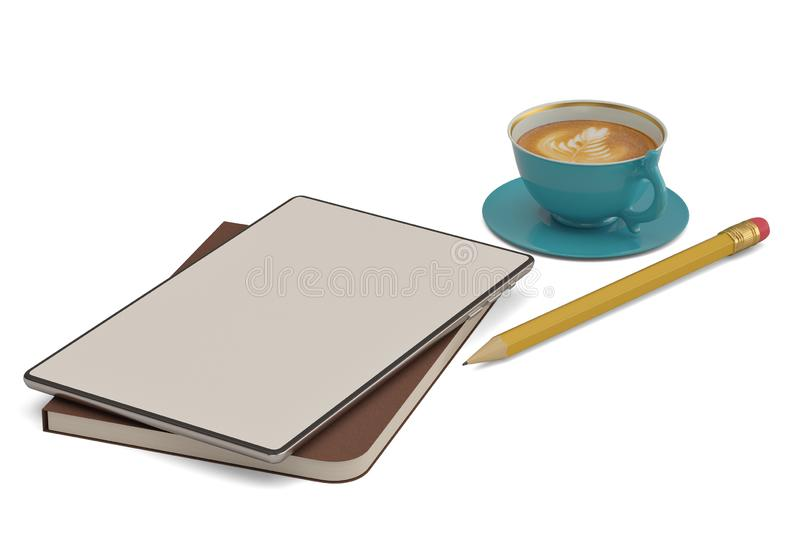 Business workplace concept tablet PC with coffee isolated on white background. 3D illustration.  royalty free illustration