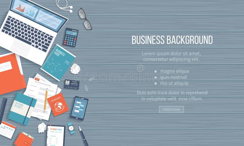 Business Workplace Desktop background. Top view of table, laptop, folder, notepad, business card, purse. Place for text. Vector Top view vector illustration