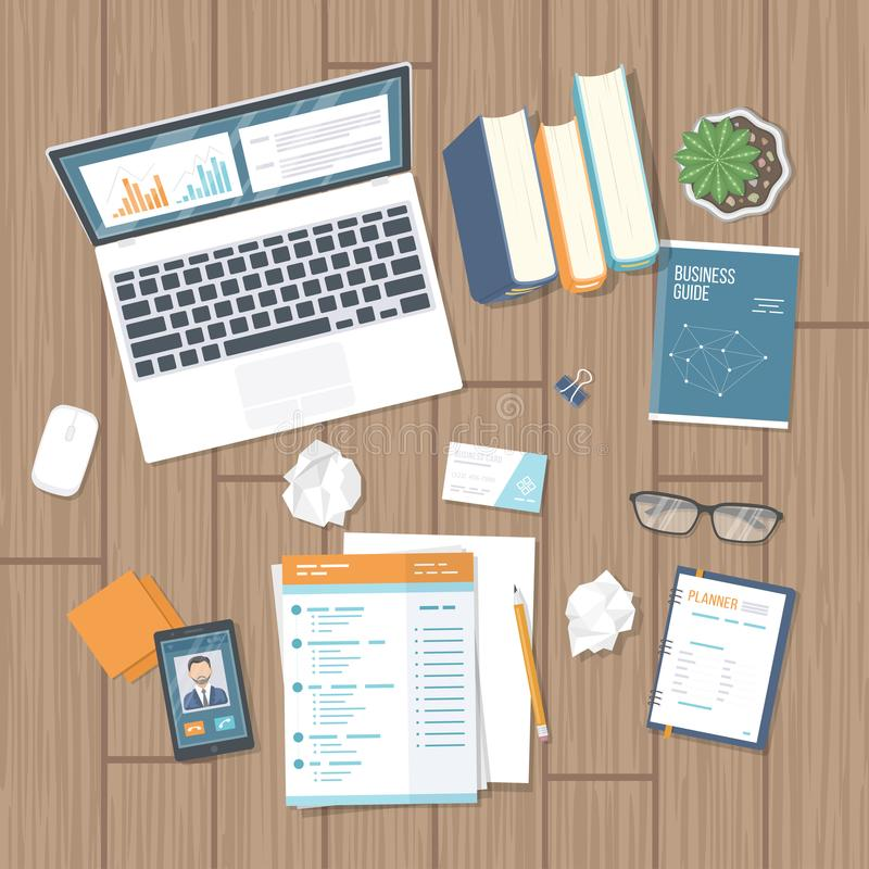 Business workplace with documents, laptop with information on the screen, notepad, phone, books, crumpled paper on the desk. vector illustration