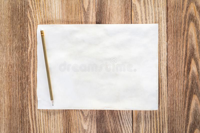 Business workplace with paper and pencil royalty free stock photos