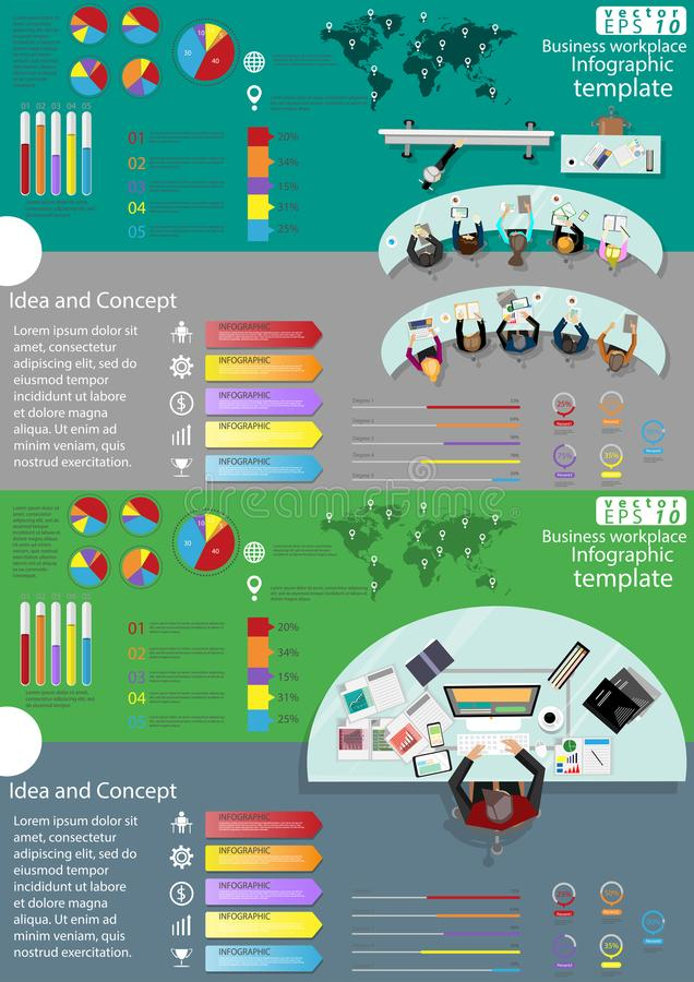 Business workplace Top view modern Idea and Concept Vector illustration Infographic template with graph,icon. royalty free illustration