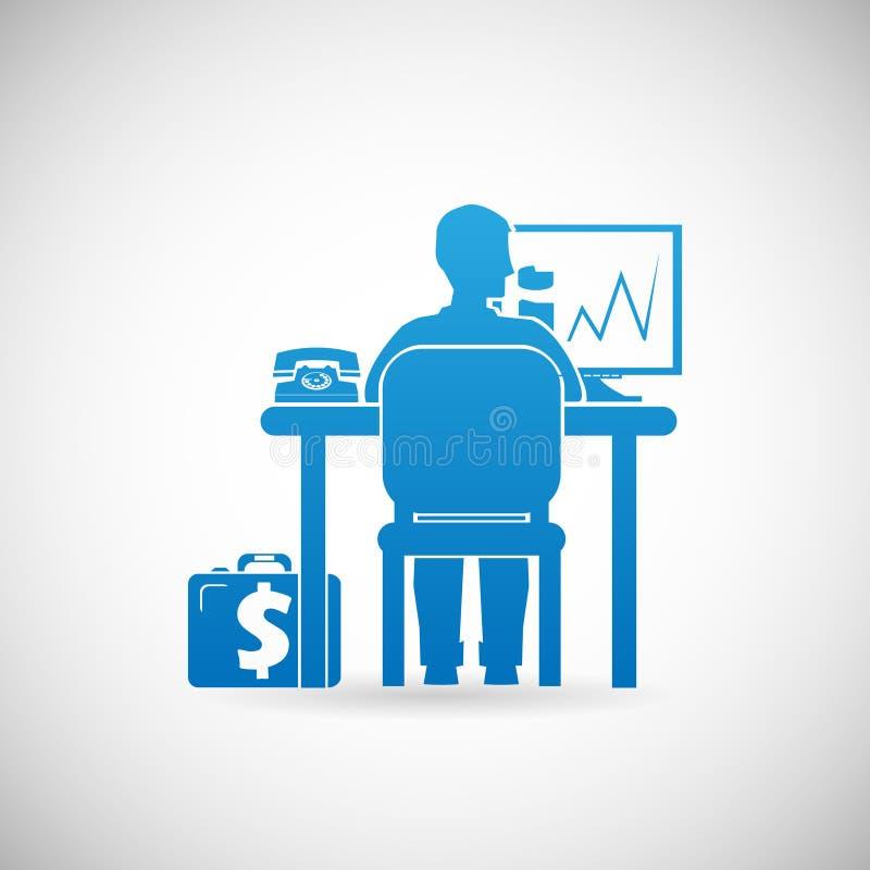 Business Workspace Symbol Businessman at Work Icon Design Template Vector Illustration stock illustration