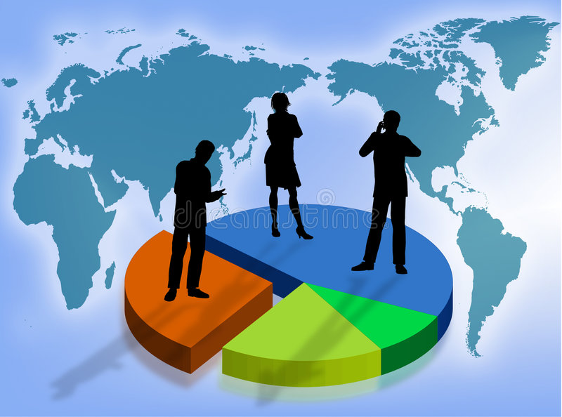 Business in the world. Business team on a graphic as symbol of business in the world stock illustration