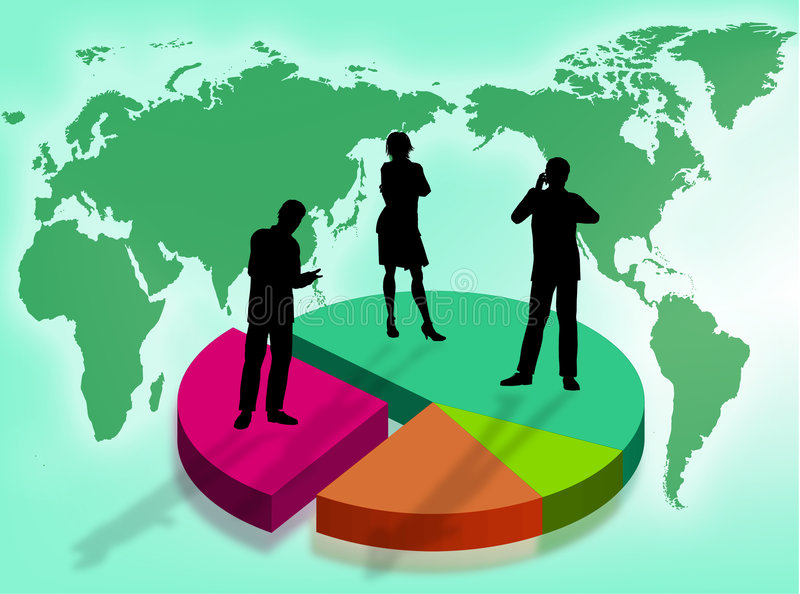 Business in the world. Business team on a graphic as symbol of business in the world vector illustration