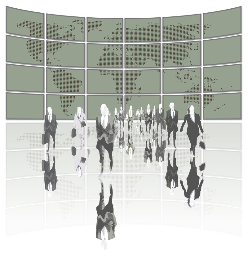 Business World. Business people leading the world vector illustration