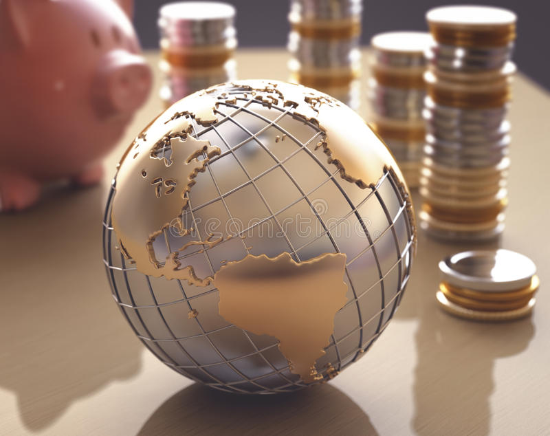 Business World. Planet Earth made of gold and silver on a concept of the business world. Piggy bank with gold coins and silver around stock images