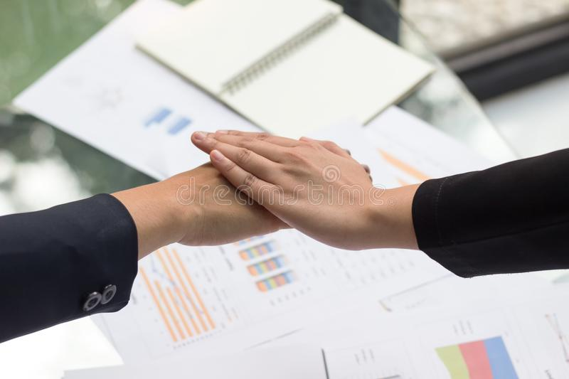Business young woman agree to be partner,Sales manager are presenting export items to partner,Investors joint. Venture with customers,Secretary contacted the stock images