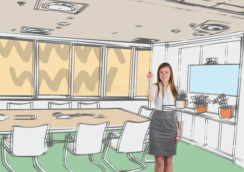 Drawing Lines In Office : Business young woman drawing office lines stock illustration