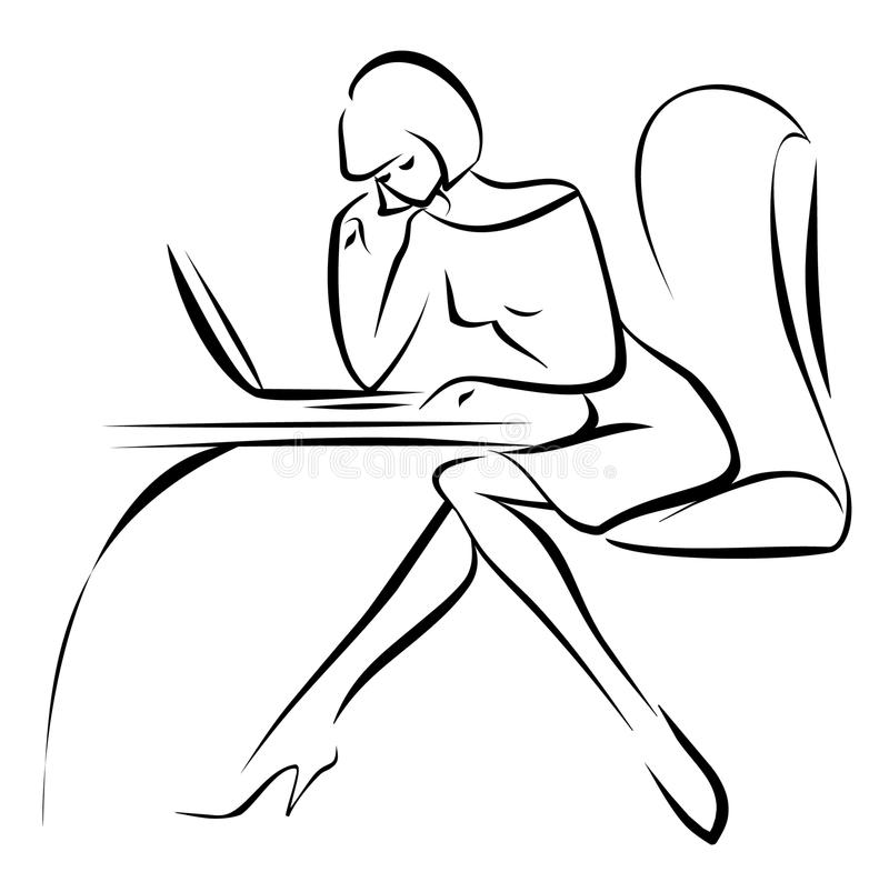 Business young woman working in the office with la vector illustration