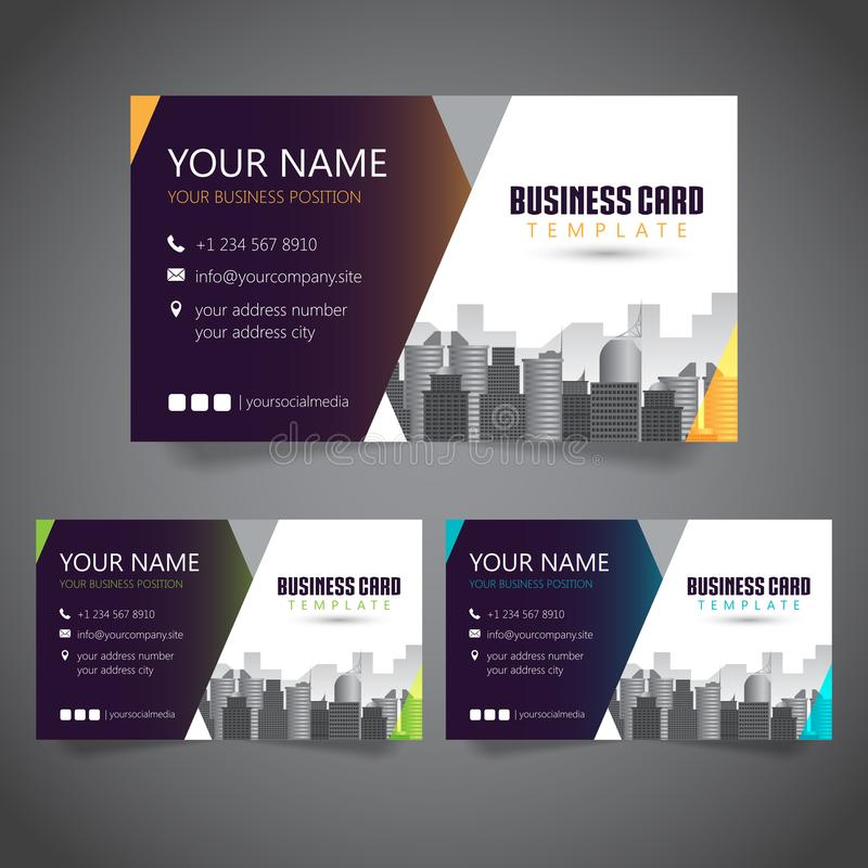 Modern Corporate Business Card with 3 Alternate Colors and Vectorized Buildings royalty free illustration